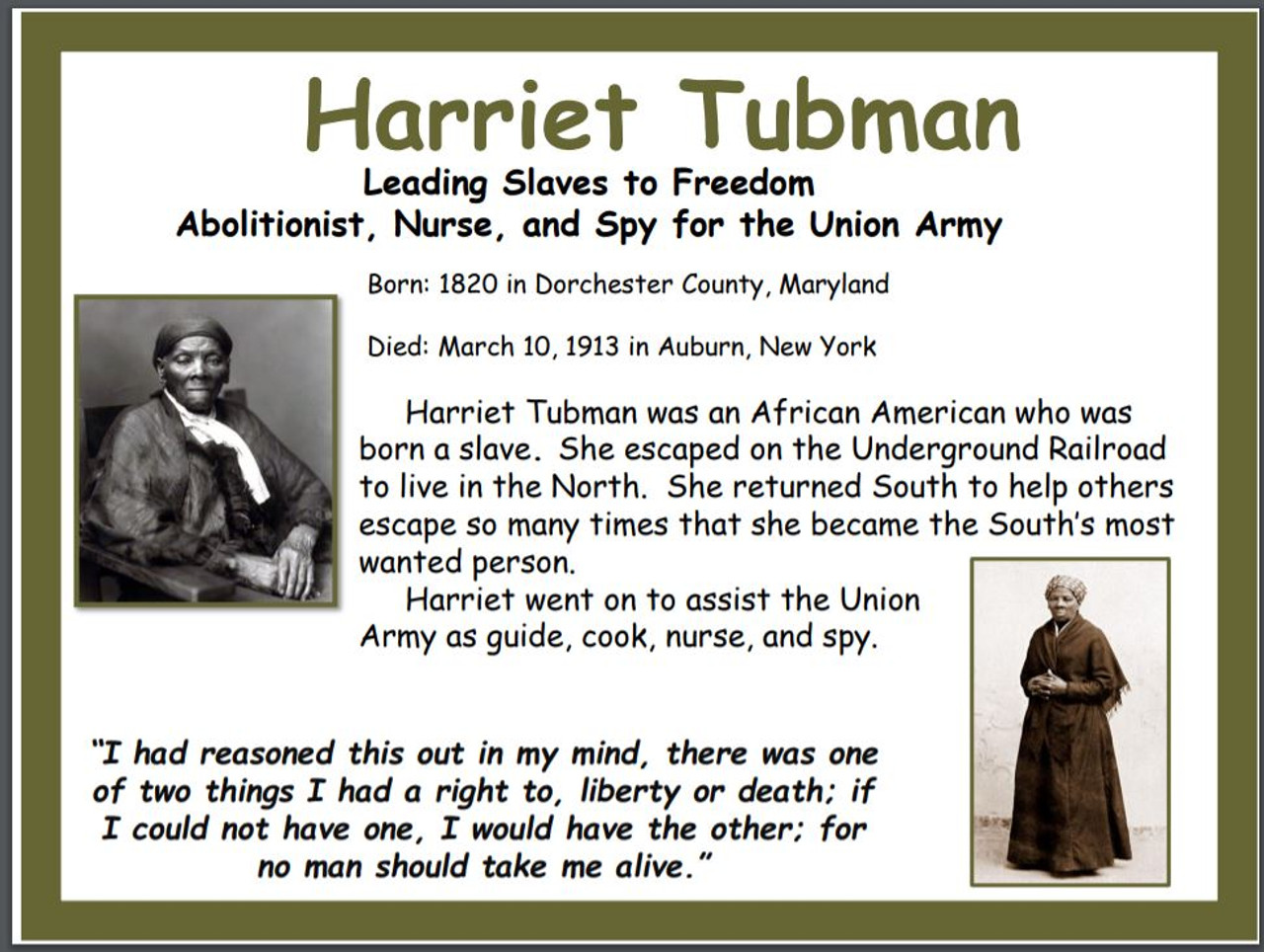 harriet tubman historical poster free