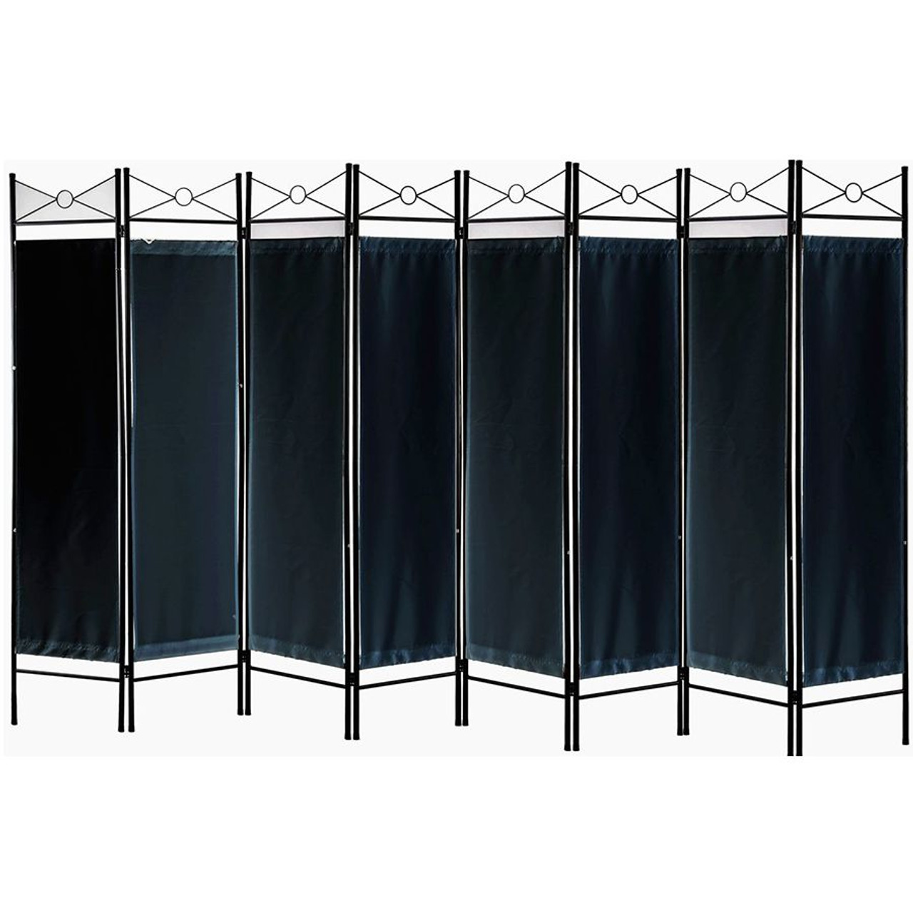 Metal Room Divider Privacy Screen With Removable Fabric Black Color Legacy Decor