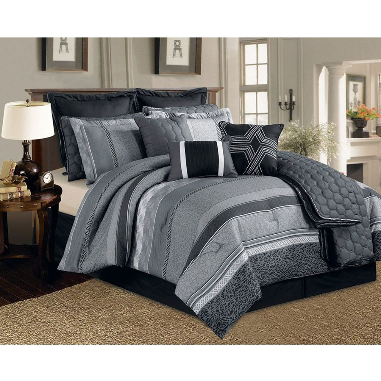 12 pc black grey and white striped pattern comforter set with quilt included
