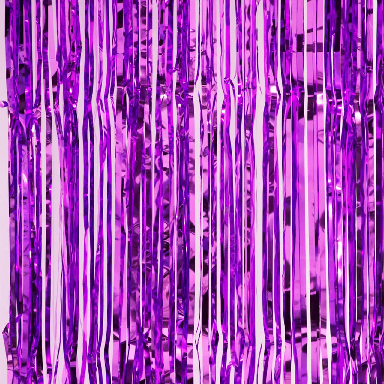 metallic foil fringe curtain purple 8
