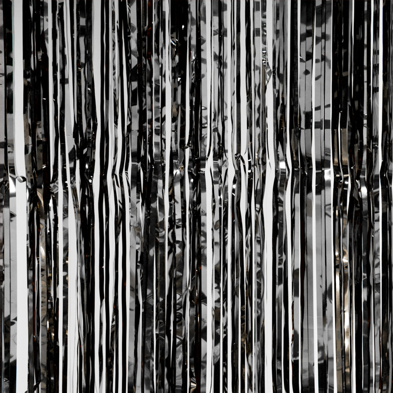 coming soon metallic foil fringe curtain black 8