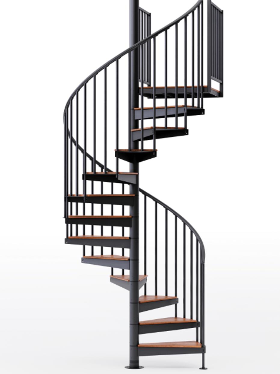 Shop Condor Black 5 Red Oak Spiral Stair Kit Mylen Stairs | 36 Inch Spiral Staircase | Steel | Staircase Kits | Building Code | Steps | Stair Case