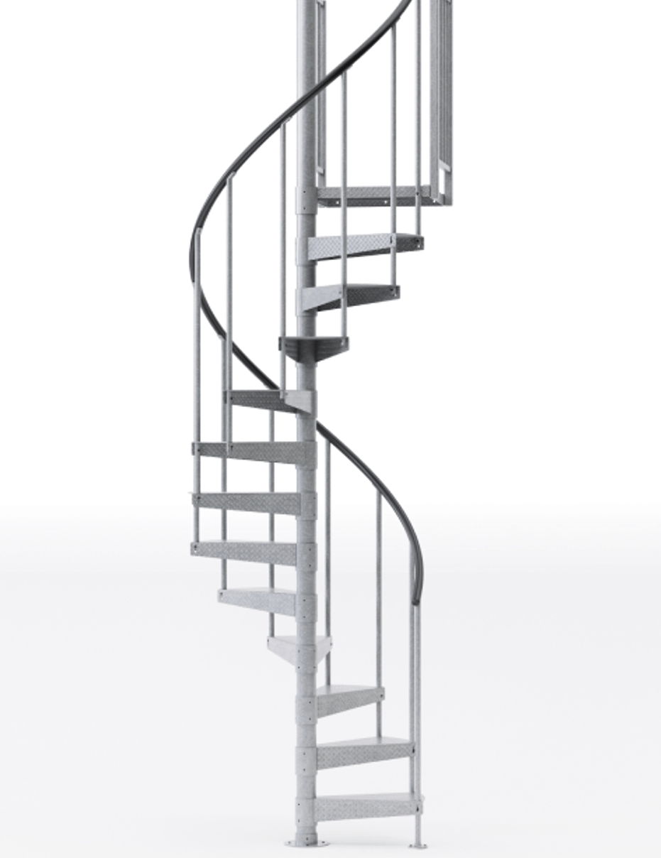 Reroute Galvanized 3 6 Steel Spiral Stair Kit Mylen Stairs | 9 Foot Spiral Staircase | 36 Tall | Stair Kit | Modern Staircase | Dolle Toronto | Stair Parts