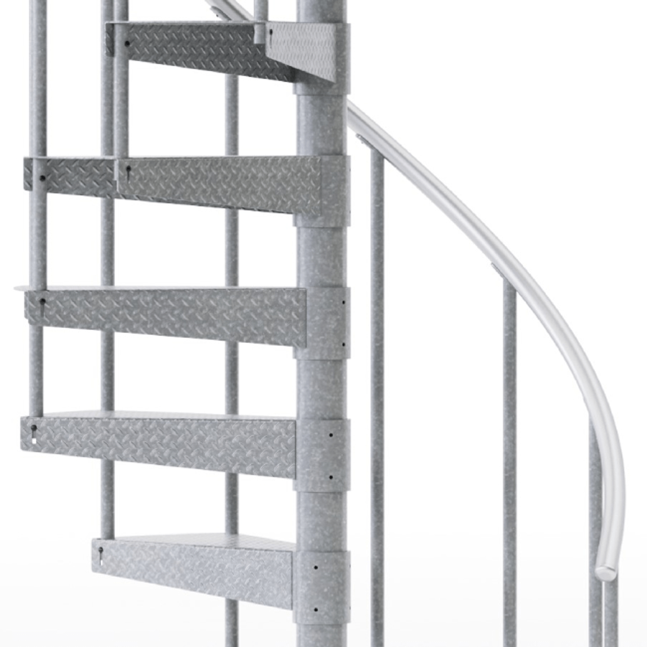 Reroute Galvanized 3 6 Steel Spiral Stair Kit Mylen Stairs | Diy Outdoor Spiral Staircase | Simple | 12 Foot | Metal | Do It Yourself Diy | Curved