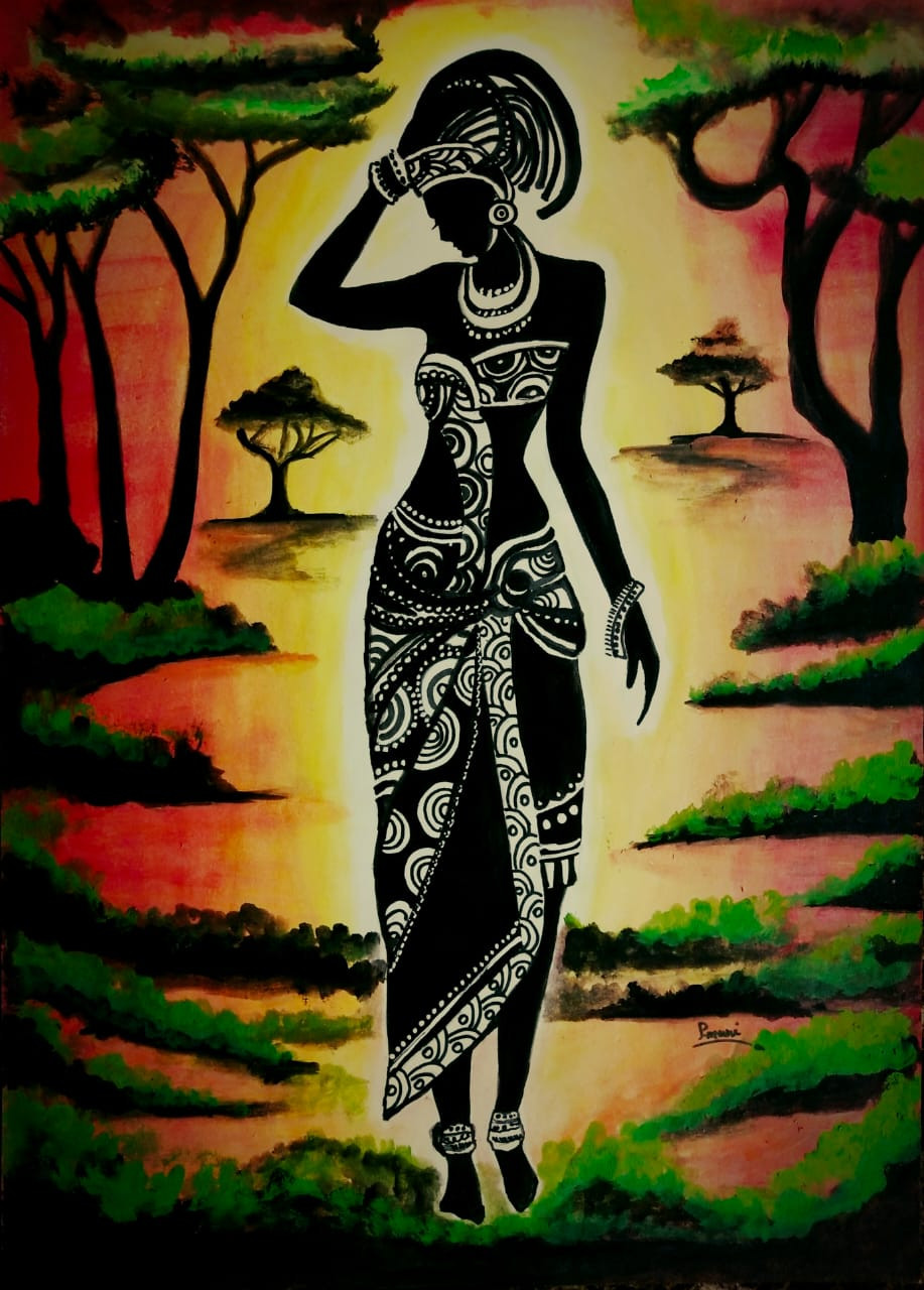 Buy African Beauty Handmade Painting By Piyali Muni Code Art 5271 42692 Paintings For Sale Online In India