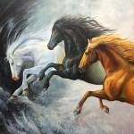 Buy Running Horses Painting Handmade Painting By Kuldeep Singh Code Art 6706 48433 Paintings For Sale Online In India
