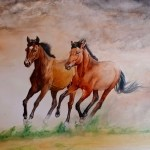 Buy Running Horses Handmade Painting By Puja Nag Code Art 7730 51647 Paintings For Sale Online In India
