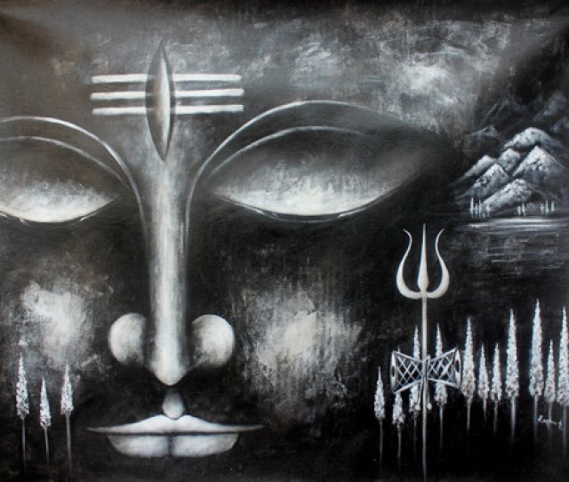 Lord Shiva 1 Art_3657_28200 Handpainted Art Painting 54in X 42in