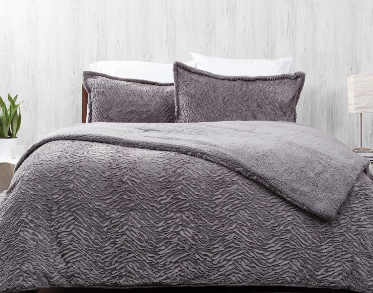 faux rabbit plush comforter set graphite