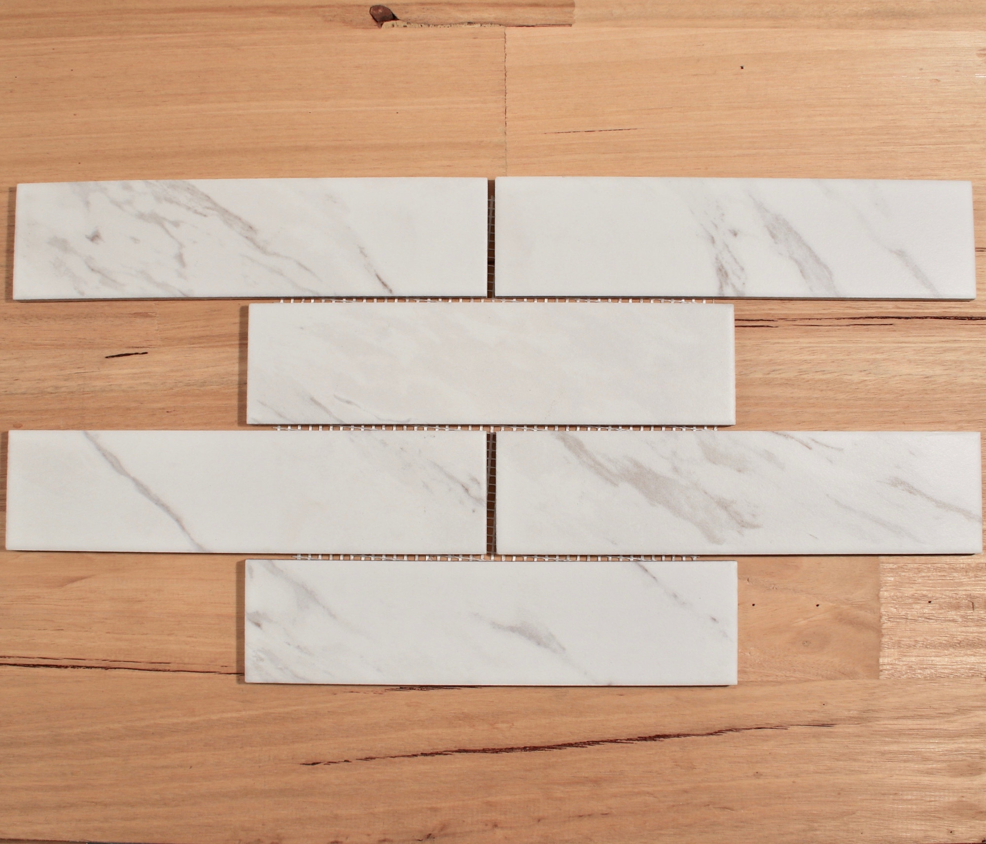 carrara look porcelain subway tile 240x60mm