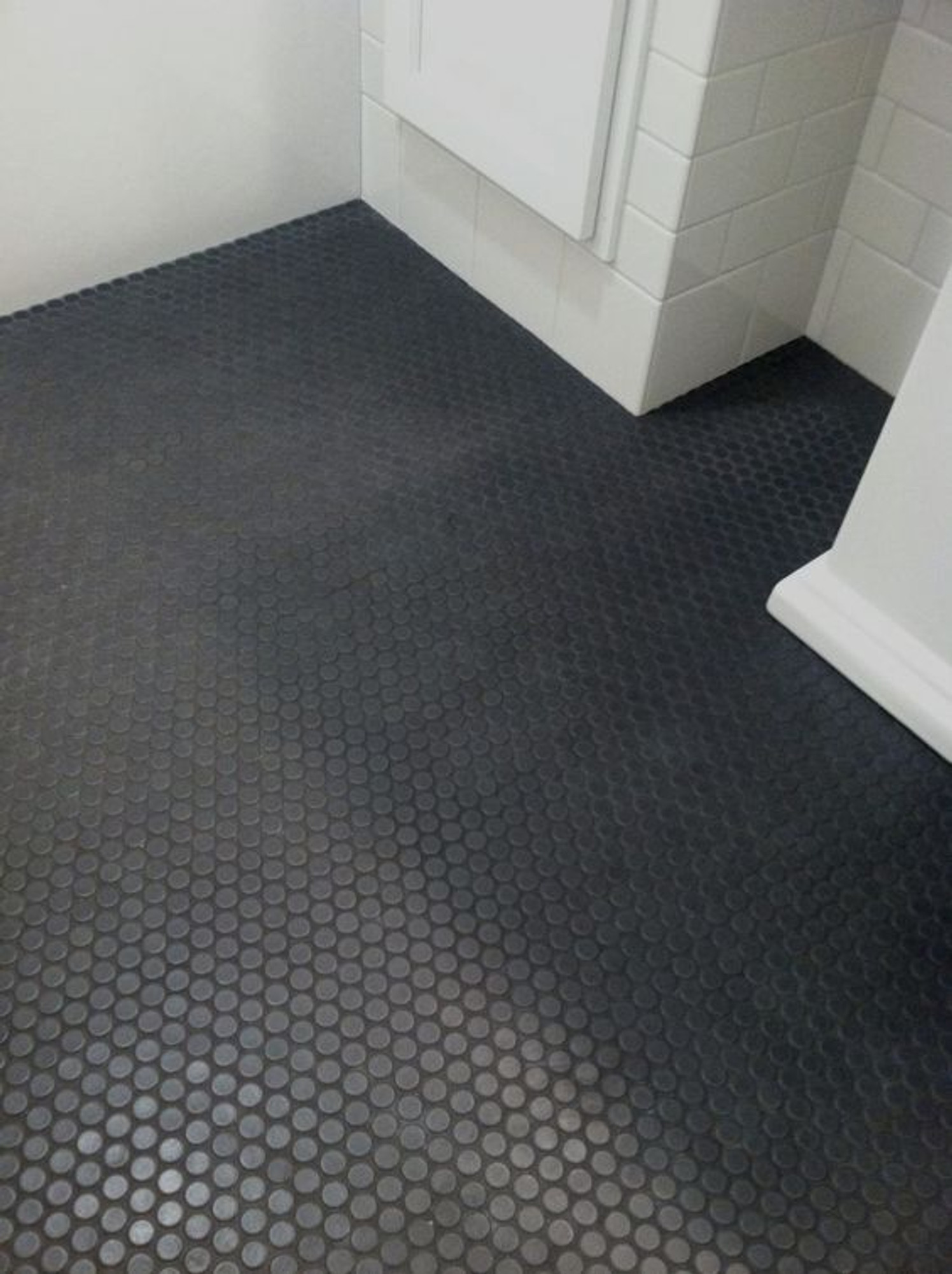 black penny round mosaic tile matt satin finish