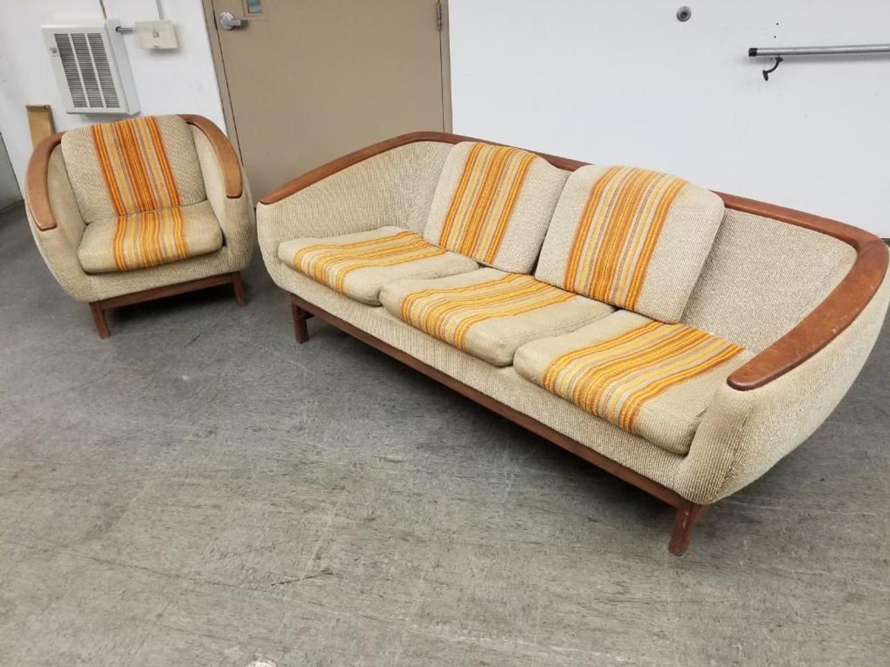 Mid Century Modern Danish R Huber Curved Back Teak Trim Sofa And Barrel Back Lounge Chair Set Of 2