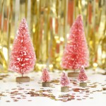 Small Pink Bottle Brush Christmas Tree Decorations