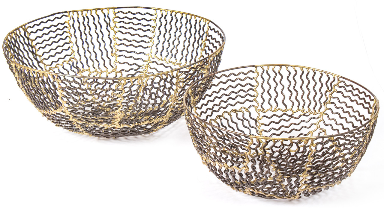 Red Fig Home Decorative Metal Baskets Set Of 2 Iron Bowls Bronze Gold Finish Wave Design Decor Accent Wall Art Table Centerpiece
