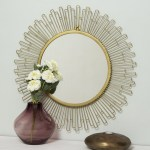 Red Fig Home Wall Mirror Decor Decorative Gold Iron Frame Large Round Mounted Mirror For Hallway Bedroom Bathroom Living Room Red Fig Home