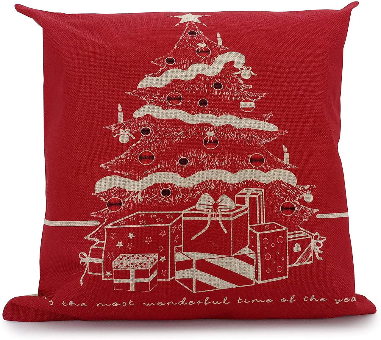 red christmas tree cushion cover