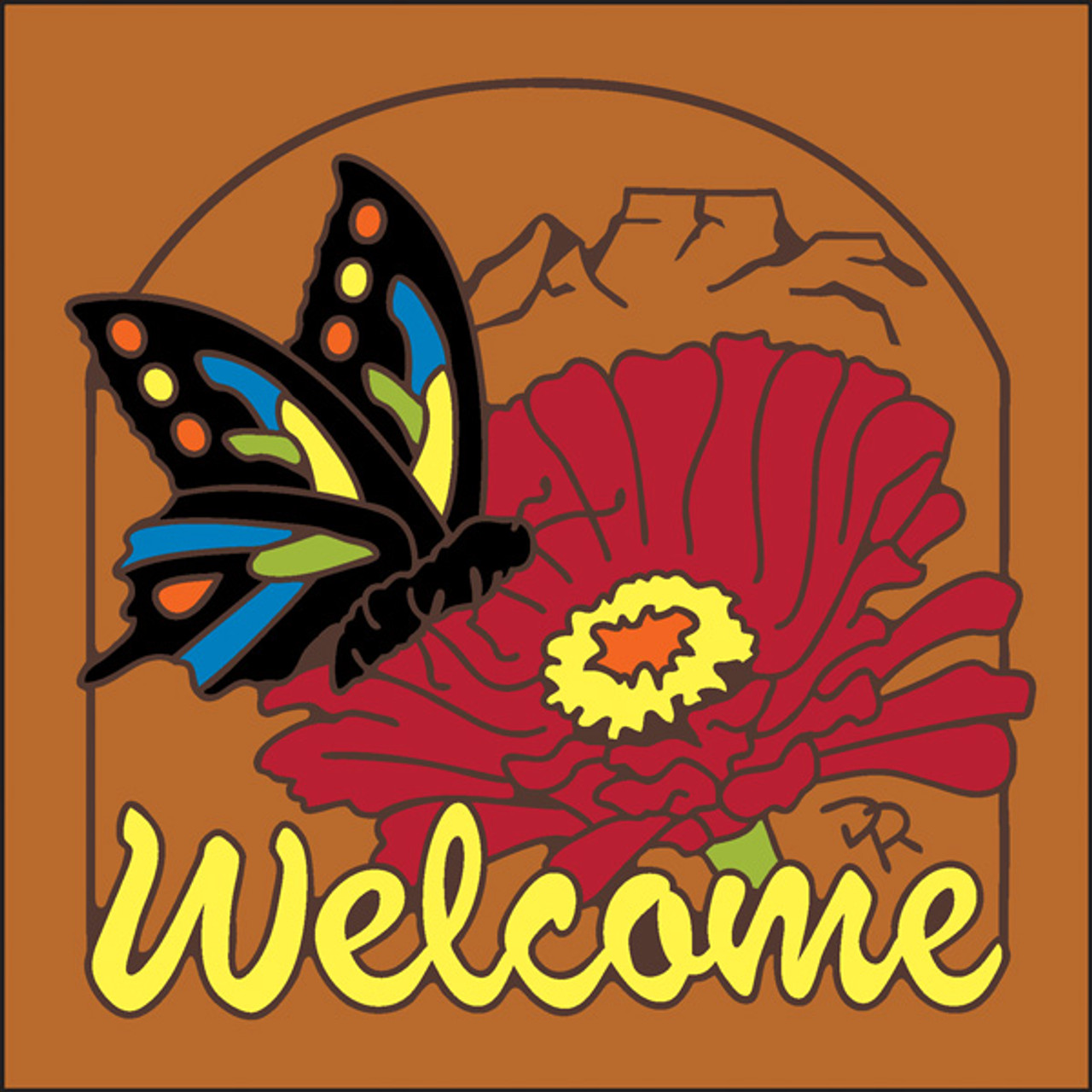 6x6 tile welcome butterfly terracotta