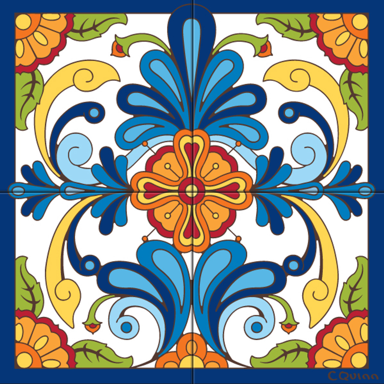 tile mural blue talavera design