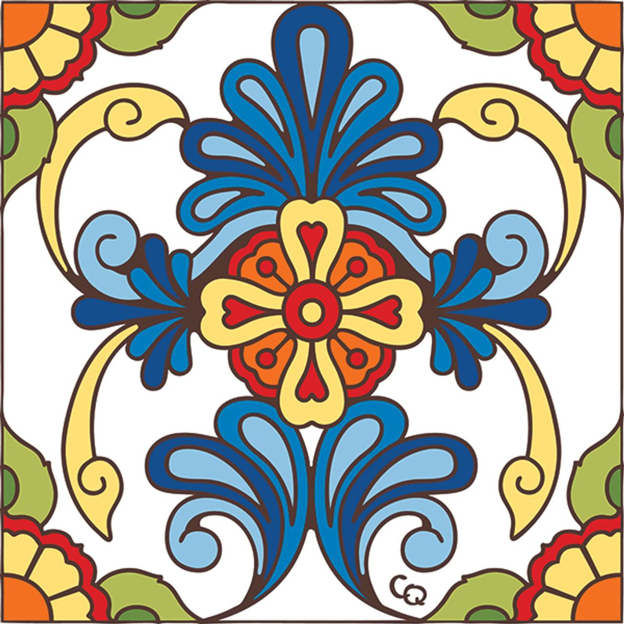 6x6 tile blue talavera design