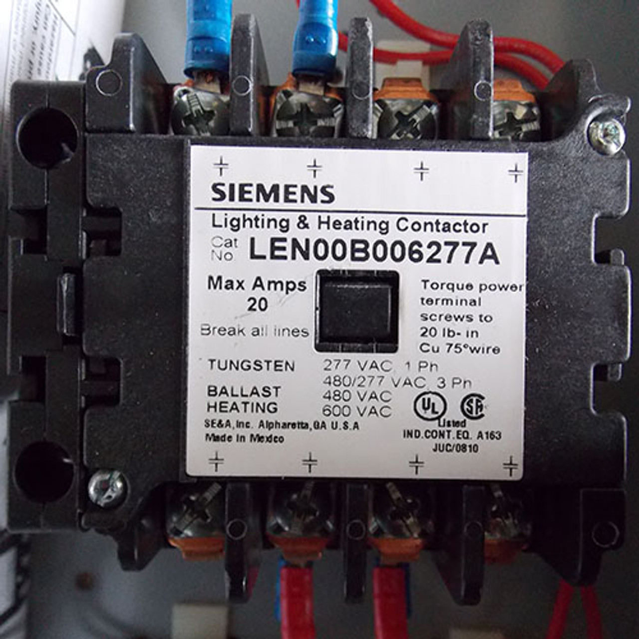 siemens len01b006277a 20a 6p 277v lighting contactor n1 with on off switch new