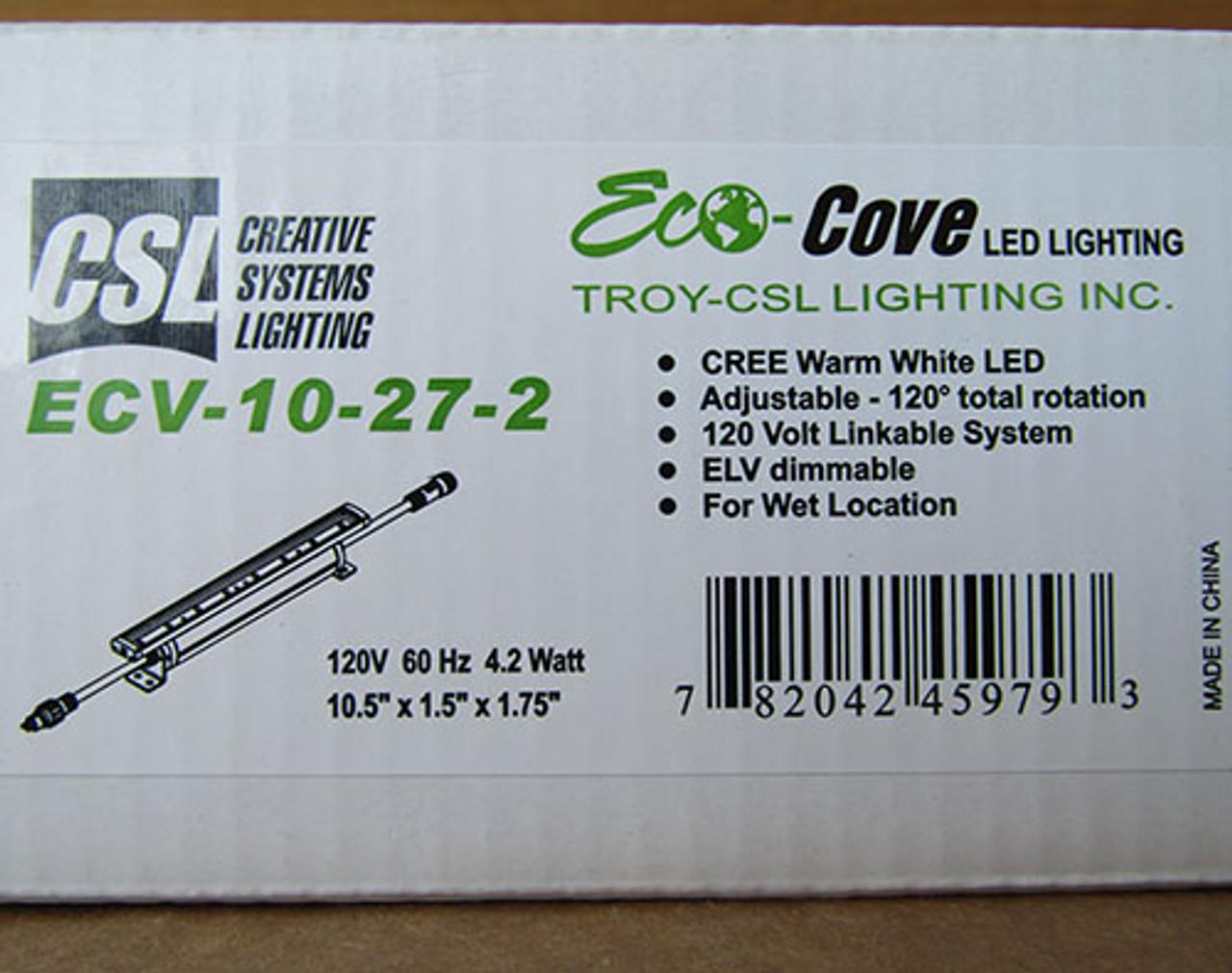 csl lighting ecv 10 27 2 eco cove led 10 120v 4 2 watt 2700k wet location new