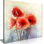 Water Color Red Poppy Flowers Painting Canvas Panther Print