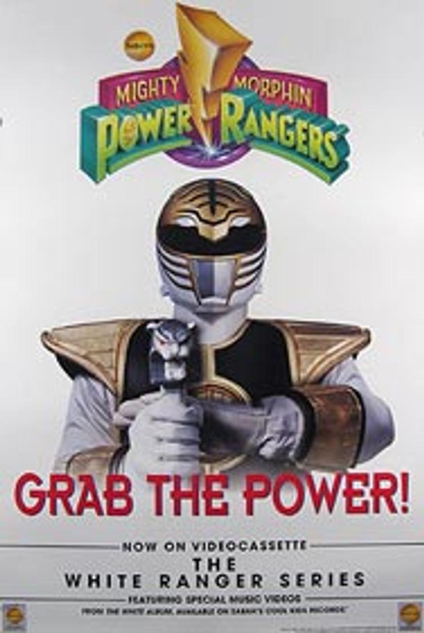 mighty morphin power rangers single sided original video poster white ranger series