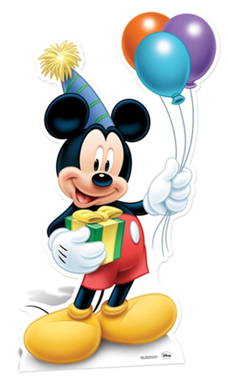 Lebensgrosser Pappausschnitt Von Mickey Mouse Mit Partyhut Und Luftballons Von Ausschnitten Standups Standees Kaufen Bei Starstills Com