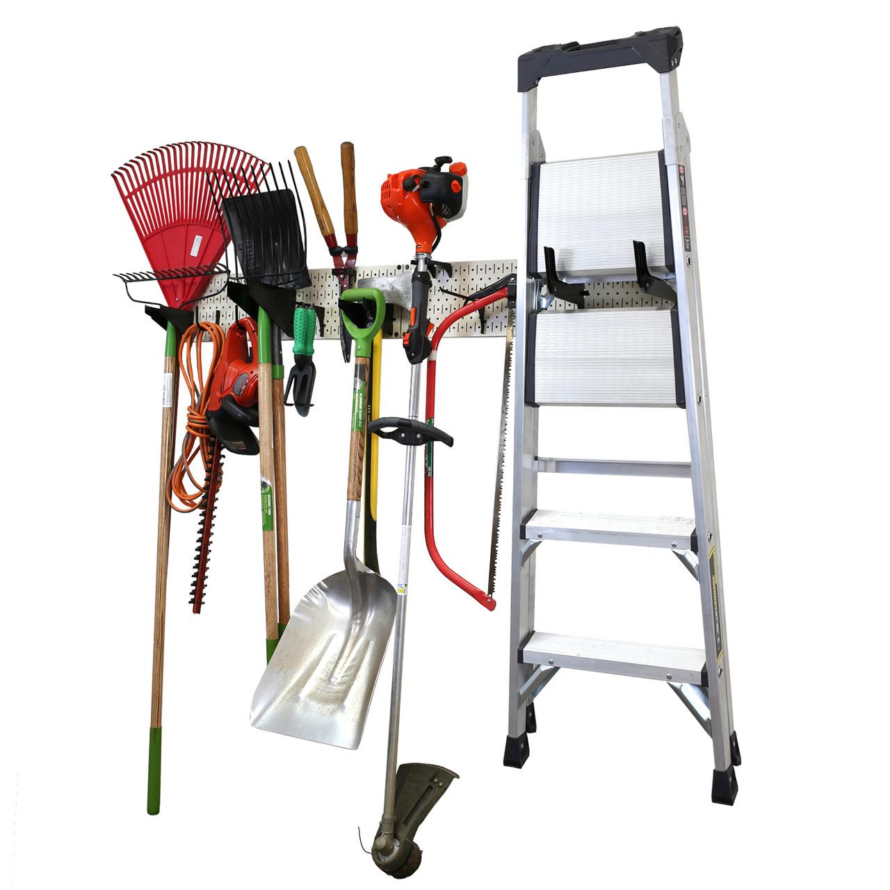garage storage lawn garden tool organization wall organizer rack beige pegboard with accessories