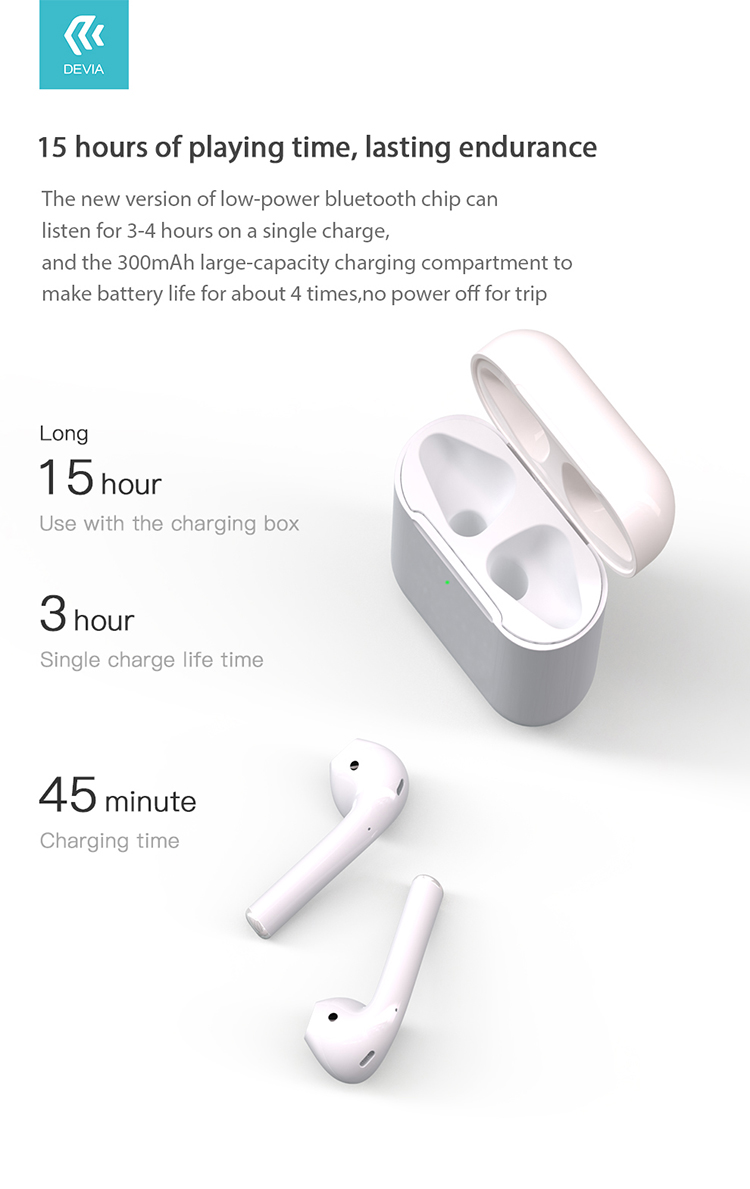 Enjoy your time to listening music for 3 hours or talking for 4 hours, connect automatically when open bin cover. Auto Primary and secondary switch with durable battery life