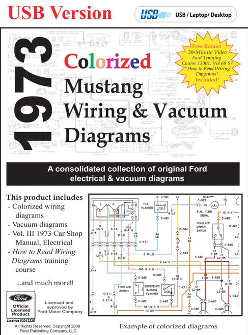 1973 mustang colorized wiring diagram digital