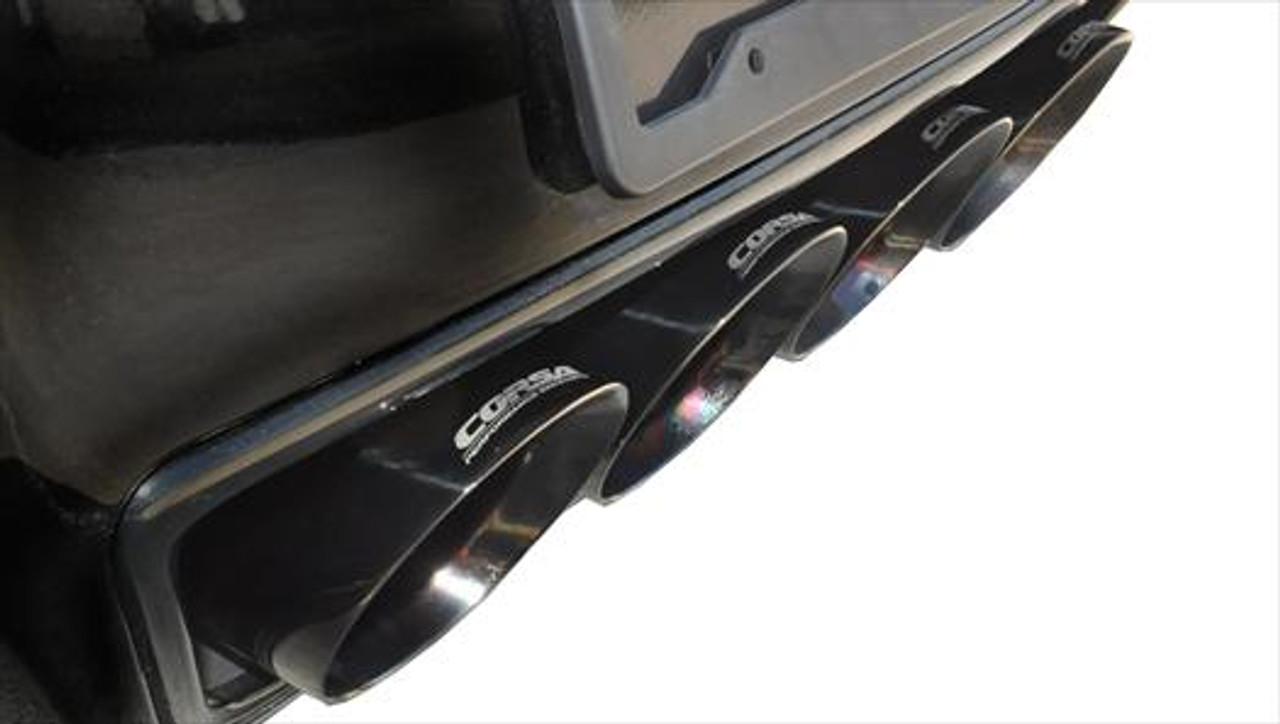 corsa valve back exhaust black tips extreme 14762blk chevy c7 corvette stingray 6 2l