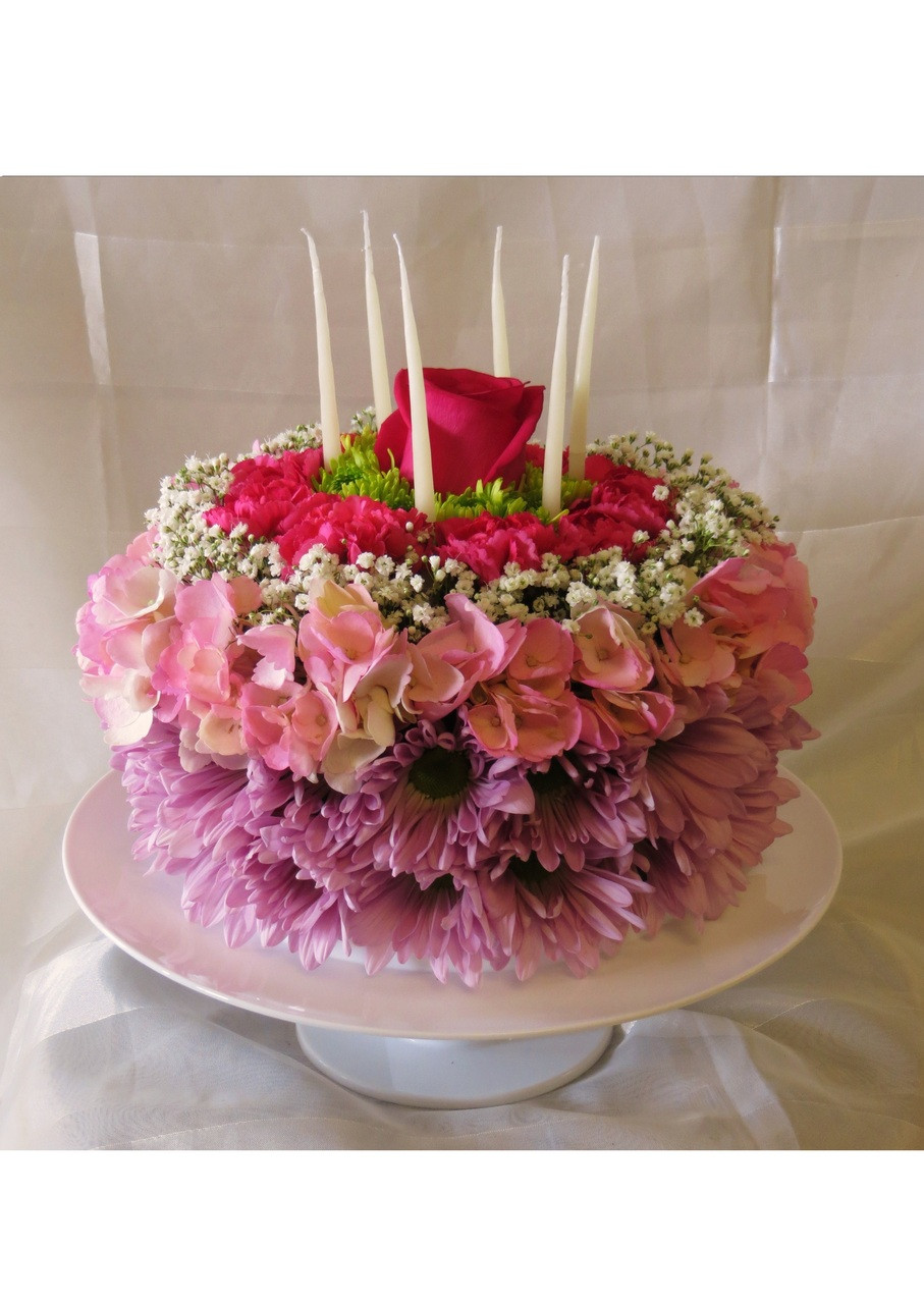 Birthday Cake Of Flowers Same Day Florist Delivery