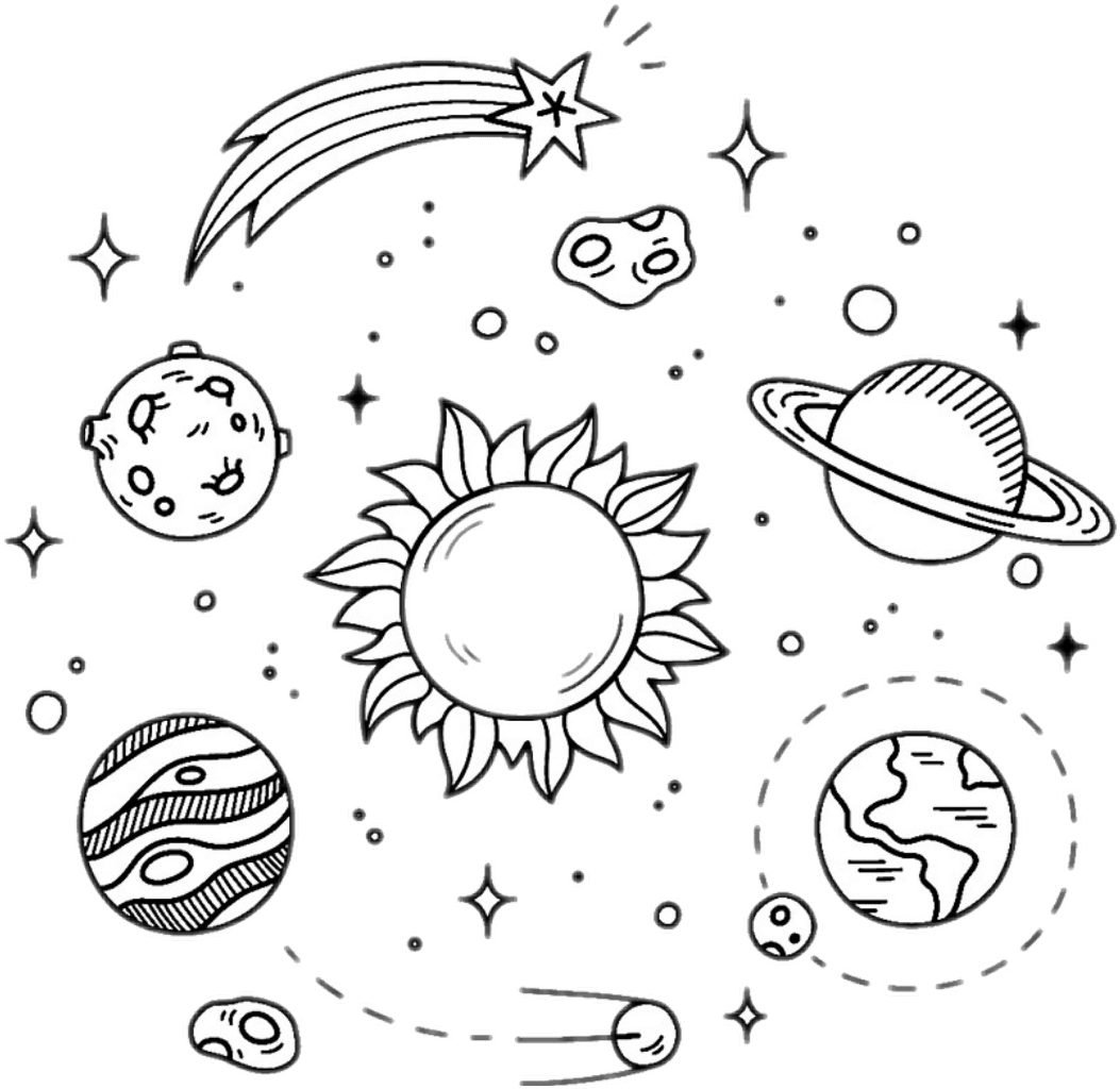Galaxy Stars Planets Black White Overlay Design Sticker