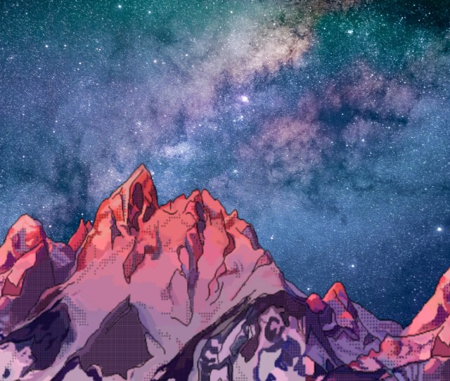 Galaxy Background Mountains 80s Wallpaper Aesthetic