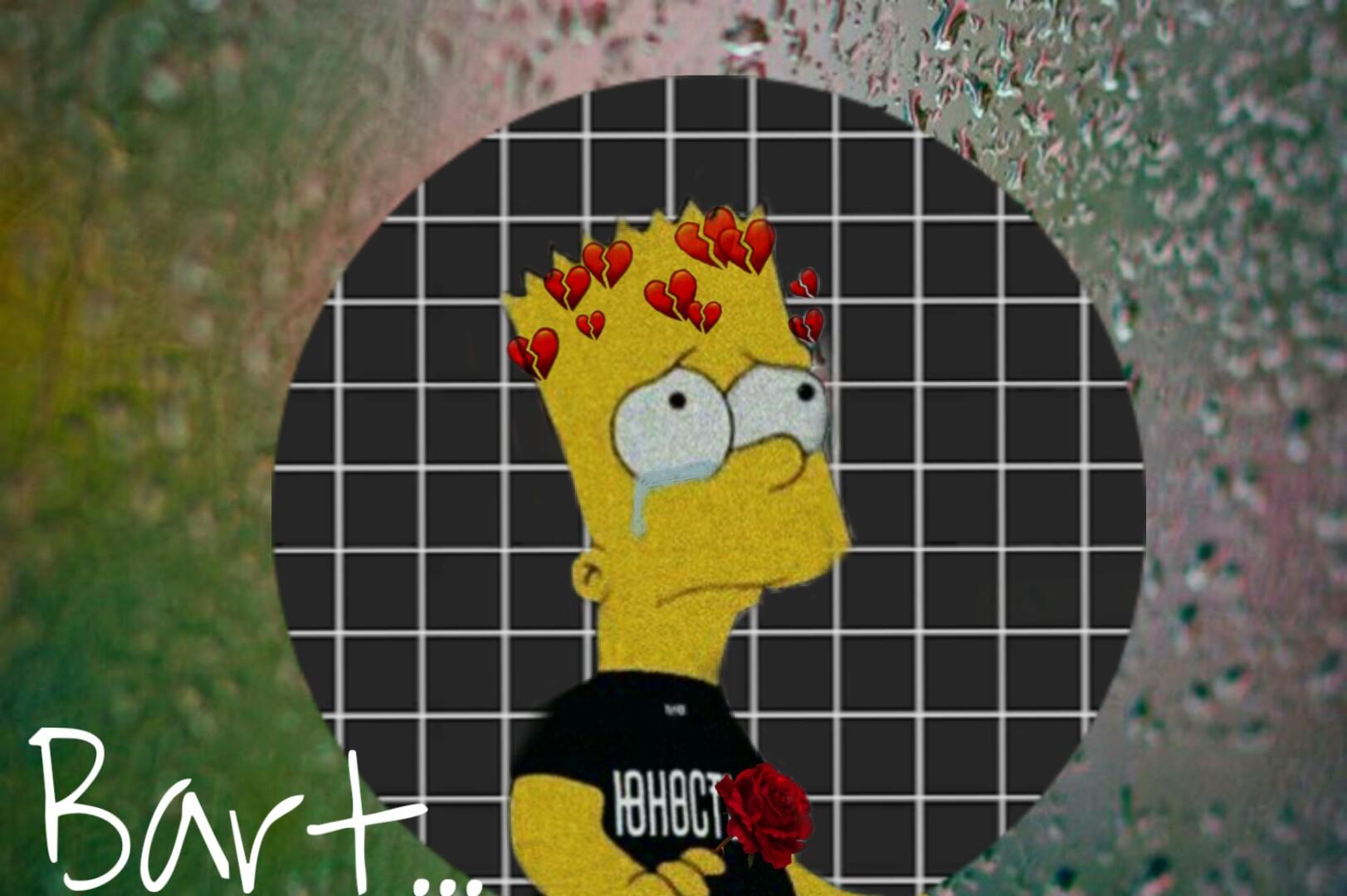 Freetoedit Sad Bartsimpson Bart Simpsons Rose Red Tears