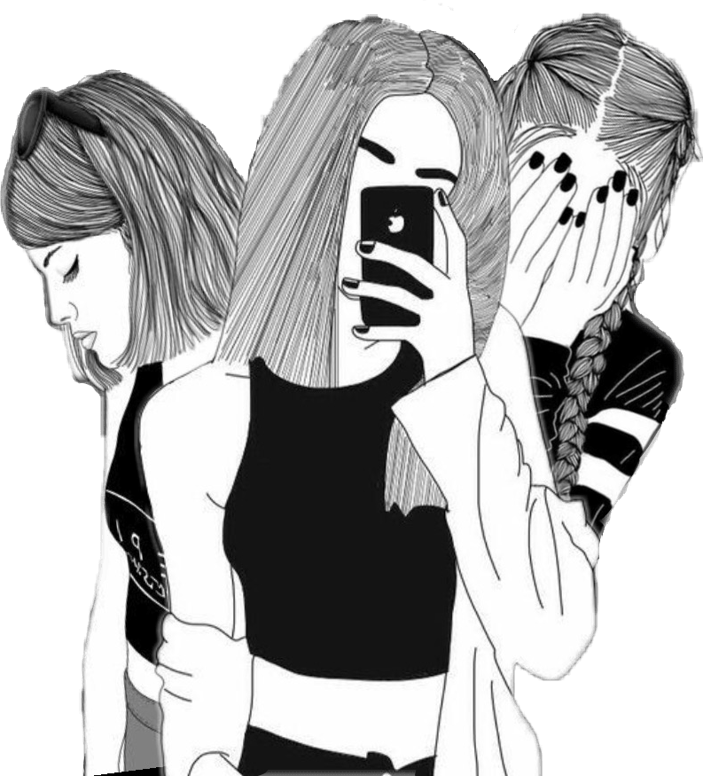 Tumblr Girl Outline Drawings Three