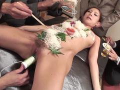 Download Business Men Eat Sushi Out Of A Naked Girls Body