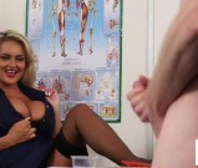 Busty Blond Nurse Watches While Patient Jerks Off In Front Of Her