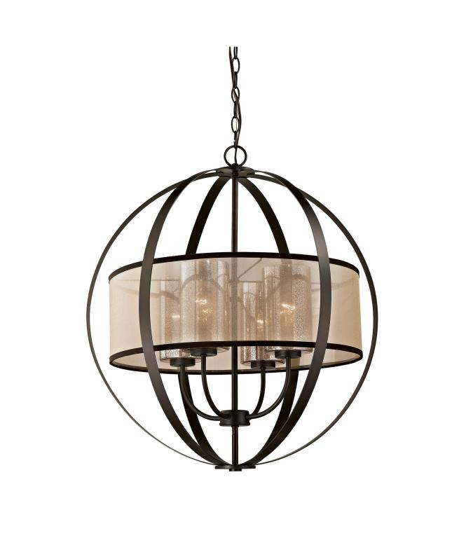 Shown In Oil Rubbed Bronze Finish Mercury Glass And Beige Organza Shade