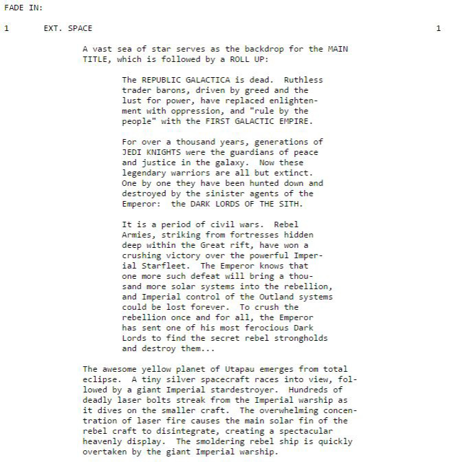 "An excerpt from George Lucas's third draft of ""THE STAR WARS"" which details the main title reveal and a very different opening crawl"