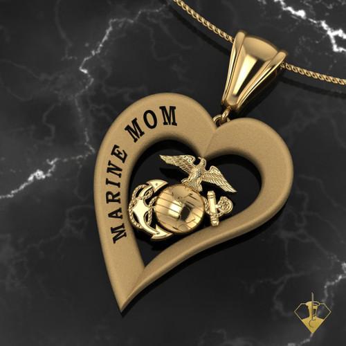 MARINE MOM HEART PENDANT 14K GOLD US Marine Corps Jewelry