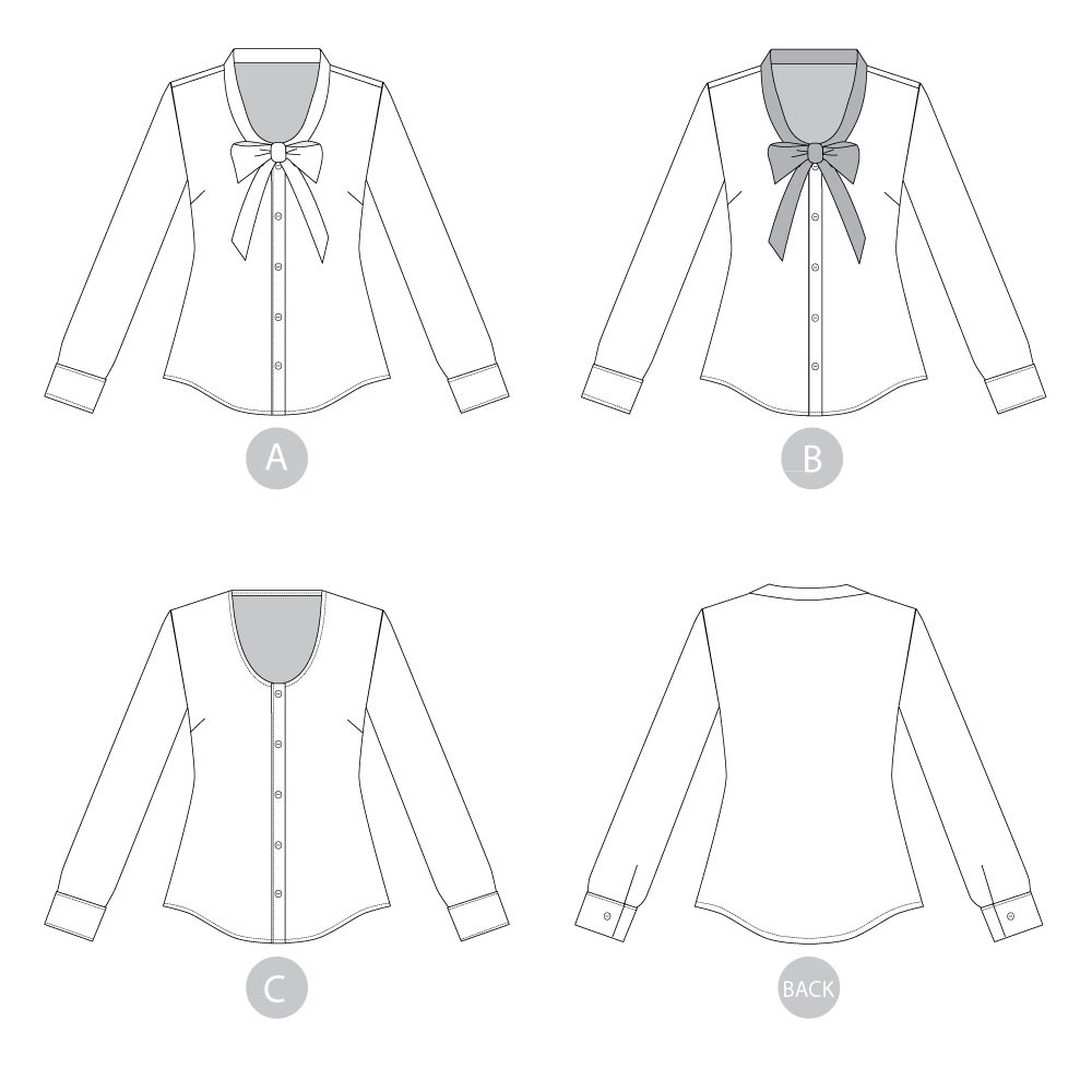 Oakridge Blouse by Sewaholic Patterns, Line Drawings for Views A, B, & C