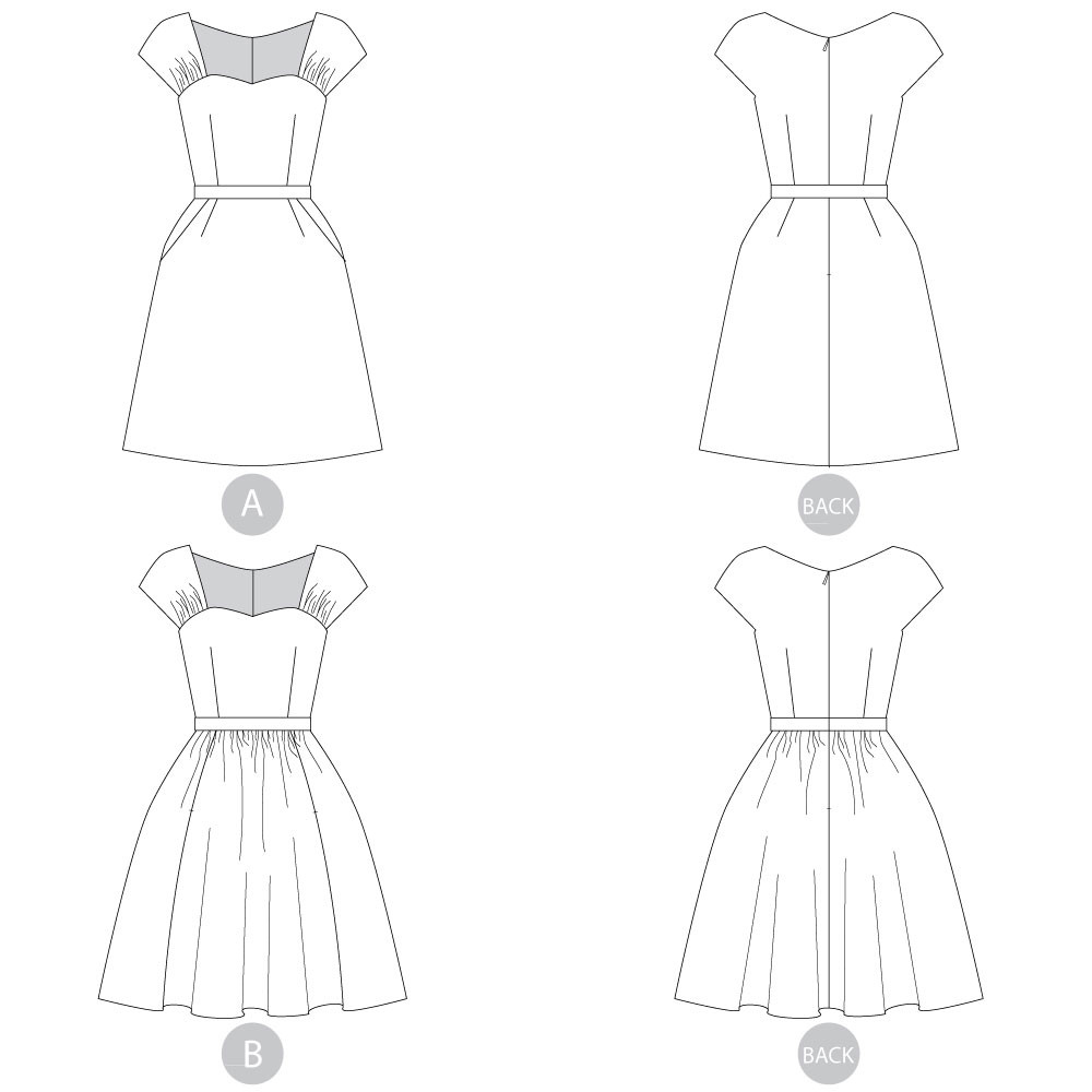 Cambie Dress by Sewaholic Patterns, Line Drawings of View A & B