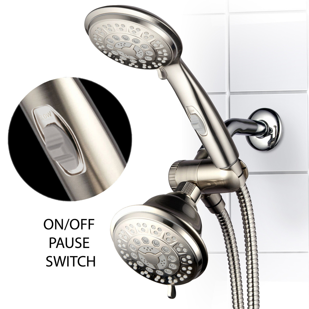 Hotel Spa 42 Setting Ultra Luxury 3 Way Combo With On Off Pause Switch Brushed Nickel