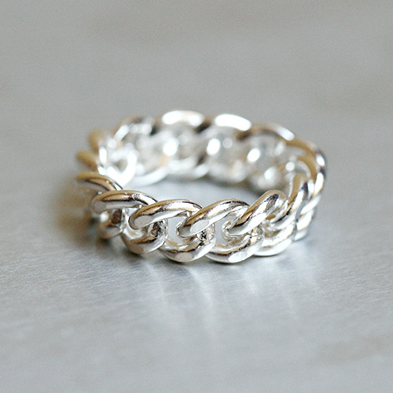 Chunky Chain Ring Sterling Silver
