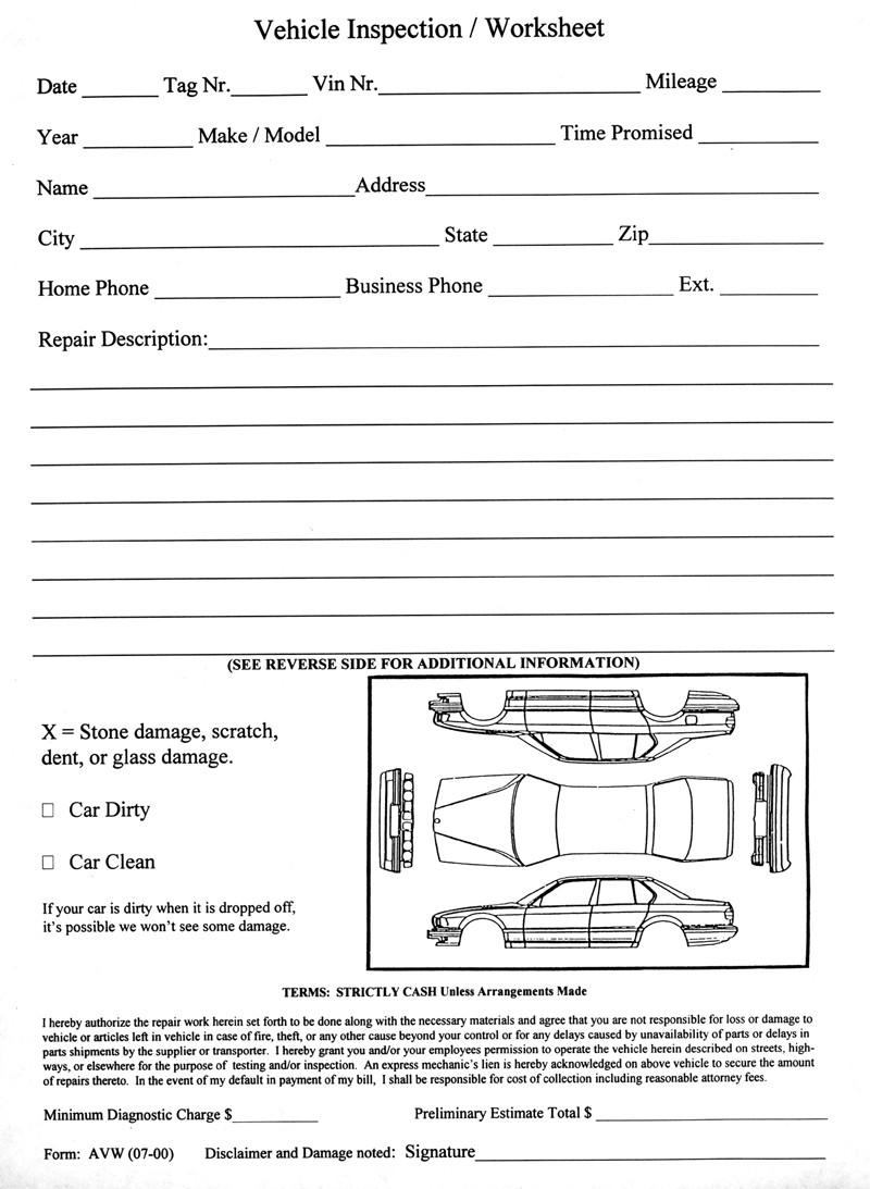 Vehicle Inspection Worksheet Form# AVW