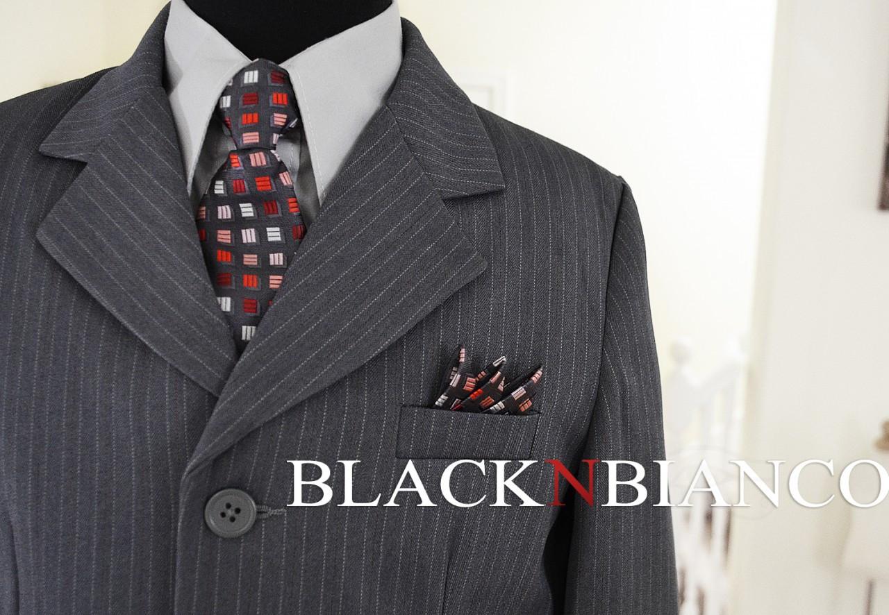 Boys Suit Gray Pinstripes