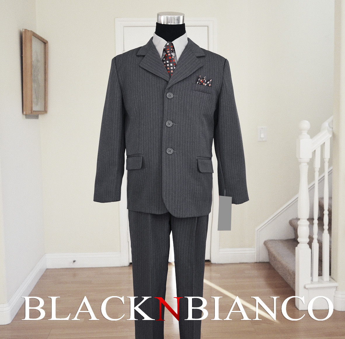 Boys Suit Gray BLACKNBIANCO