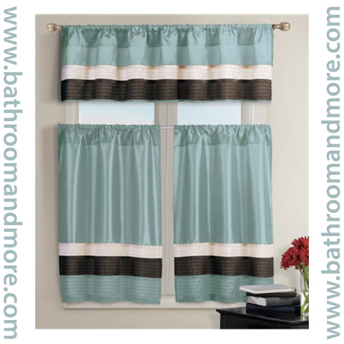Teal Blue Kitchen Window Curtain Set 1 Valance 2 Tiers Bathroom And More